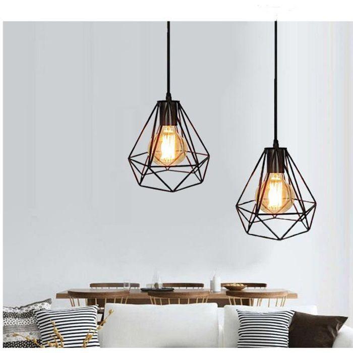 Lot de 2 Lustre Vintage Industrielle Lampe Suspension en Métal Cage Diamant Noir E27 pour Eclairage Décoration