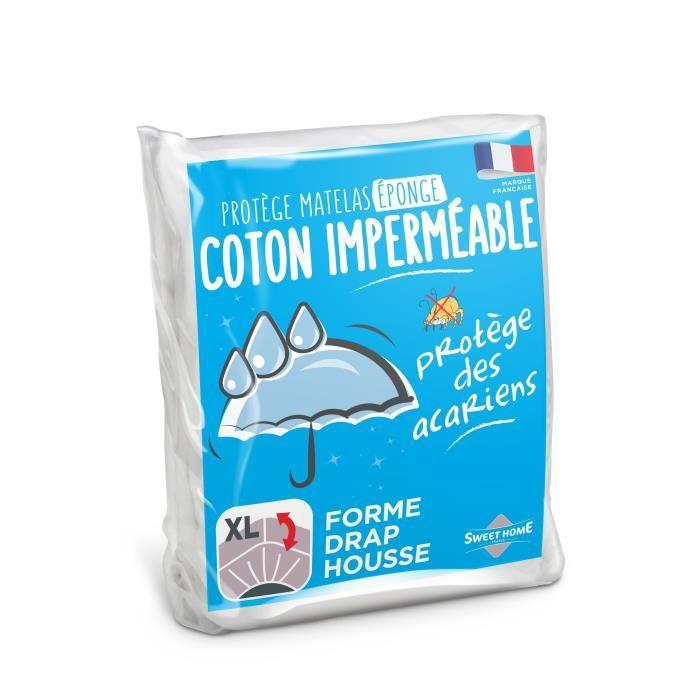 SWEETHOME Protège-matelas éponge 100% coton - Imperméable - 90x190 cm