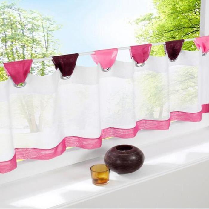 SIMPVALE Petit Rideau de Fenêtre Couleur Patchwork Décoratif pour Porte (60_x_180_cm, Rose)