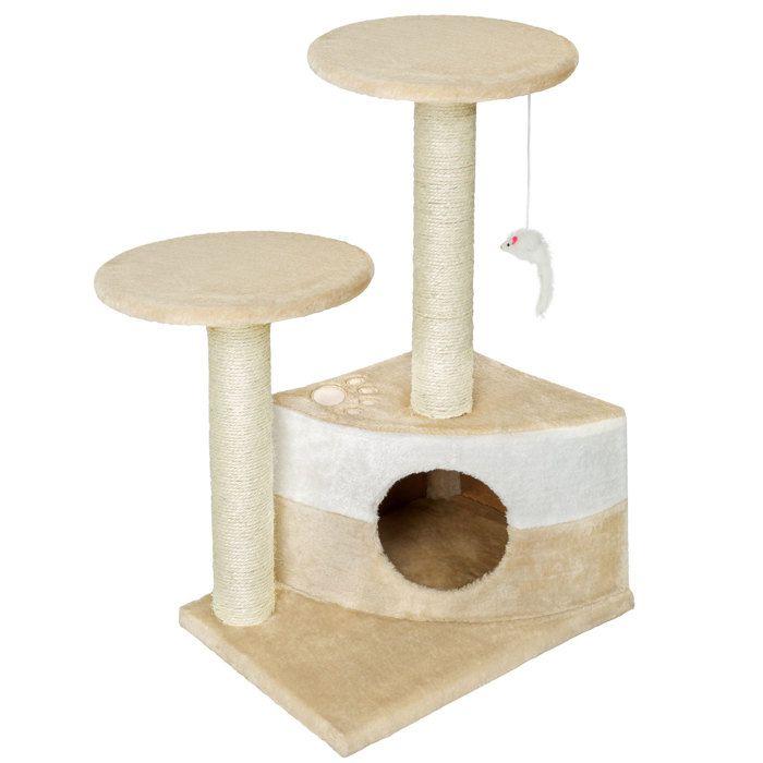 TECTAKE Arbre à chat 71 cm TOMMY Griffoir 1 Cabane + 1 Souris Beige