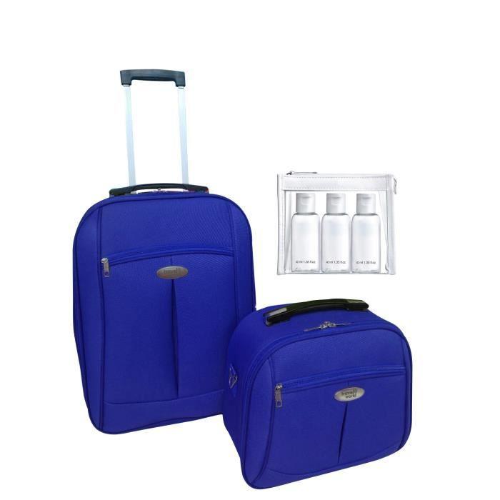 TRAVEL WORLD Ensemble de 2 pièces: Valise Cabine 55cm + Vanity Case avec 1 kit de 3 flacons de voyage de 100ml Marine
