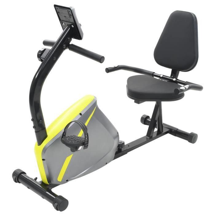 RIN- Vélo d'appartement magnétique couché - avec mesure du pouls - métal et plastique - 136 x 56 x 92,5 cm - gris et jaune
