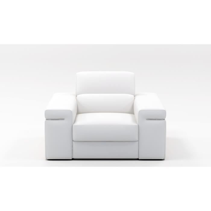 fauteuil cuir blanc thomas achat vente fauteuil cdiscount. Black Bedroom Furniture Sets. Home Design Ideas