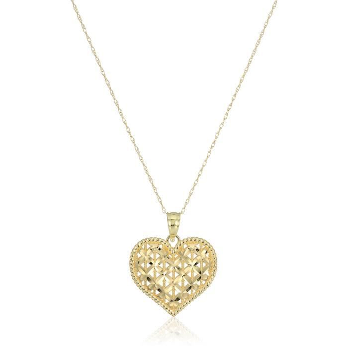 10k Yellow Gold x Pattern Heart With Rope Border Pendant Necklace, 18 A65NH