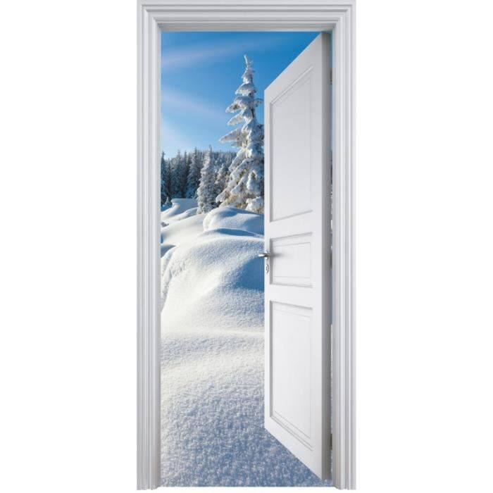 Sticker porte trompe l 39 oeil d co montagne 90x200cm achat for Decoration porte interieure poster sticker
