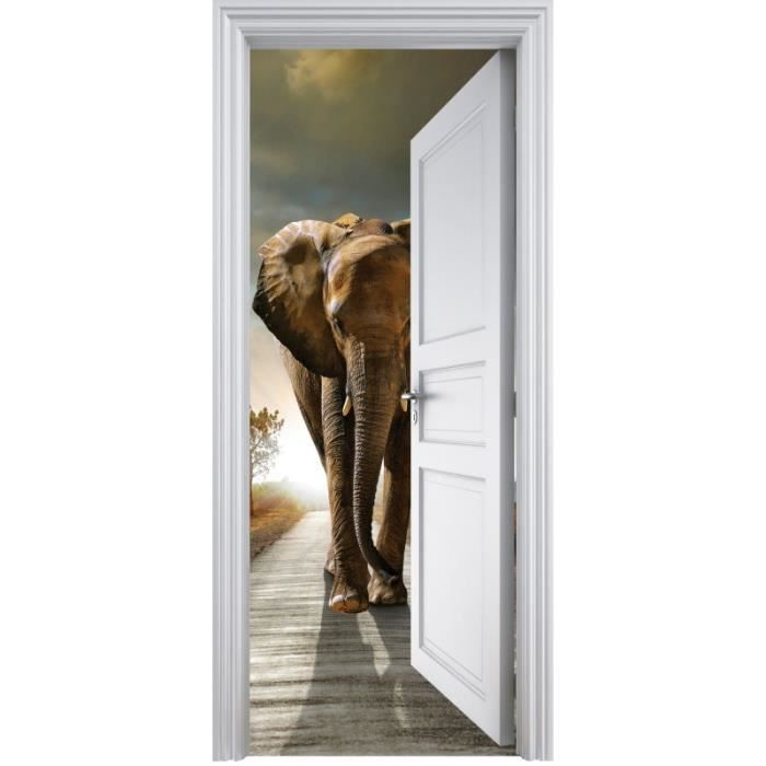Sticker porte trompe l 39 oeil el phant 90x200cm achat for Decoration porte interieure poster sticker