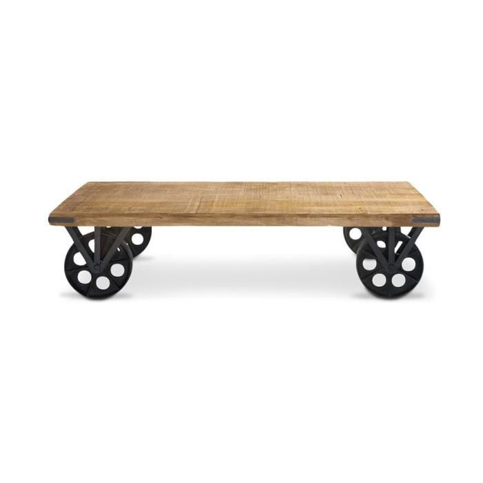 Table Basse Industrielle Roulette - Achat / Vente Table Basse