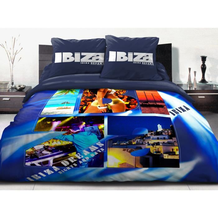 couette imprim e 220x240 600 grs 100 coton ibiza bleu achat vente couette cdiscount. Black Bedroom Furniture Sets. Home Design Ideas