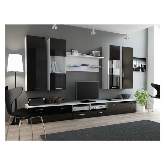 ensemble meubles tv design sirus 2 blanc et noir. Black Bedroom Furniture Sets. Home Design Ideas