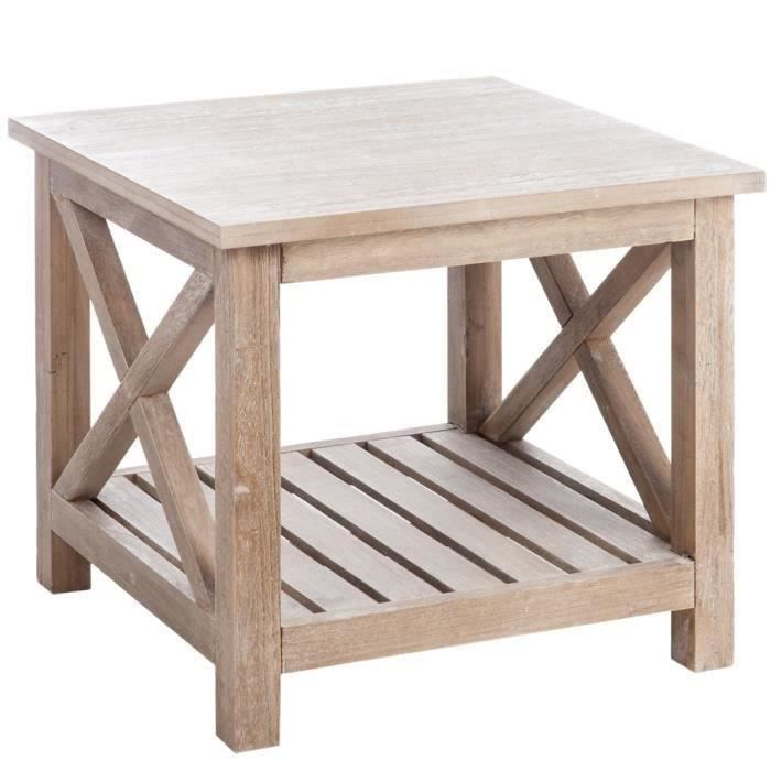 Jline table basse en bois massif 50x50 cm bois naturel for Table basse en bois naturel