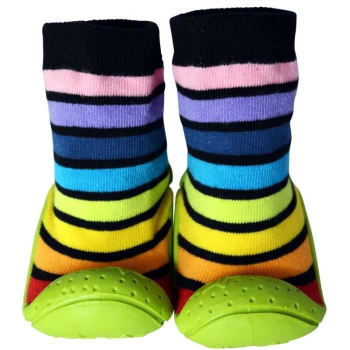 c2bb chaussons chaussettes enfant antid rapants semelle souple ray s noir vert achat. Black Bedroom Furniture Sets. Home Design Ideas