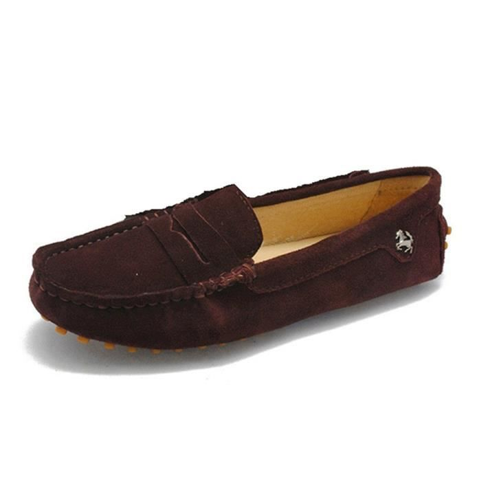 Bow Slip Moccasins Comfortable Taille Flats on HJ0LI Loafers 40 Driving Suede Leather aOFwRYIq