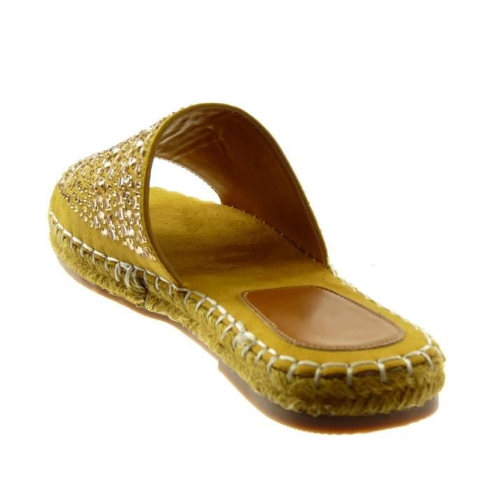 Angkorly - Chaussure Mode Sandale slip-on femme Strass corde finition surpiqûres coutures Talon bloc 2.5 CM - Moutarde - 303-53 T 35