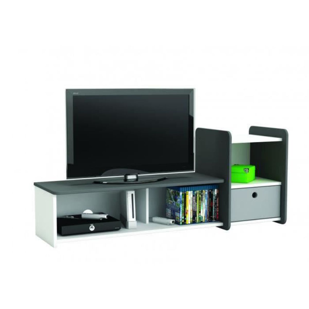 meuble tv sport 3 niches 1 tiroir en panneaux de. Black Bedroom Furniture Sets. Home Design Ideas