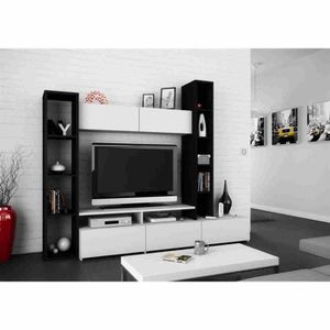 meuble tv bibliotheque achat vente meuble tv bibliotheque pas cher soldes cdiscount. Black Bedroom Furniture Sets. Home Design Ideas