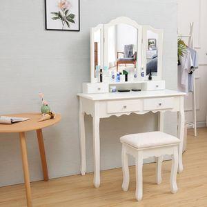 COIFFEUSE Coiffeuse, Table de maquillage,avec 3 miroir, 4 ti
