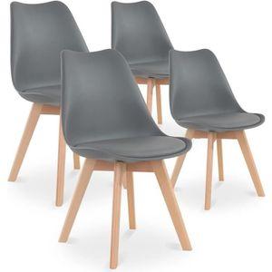 CHAISE Lot de 4 chaises style scandinave Catherina Gris