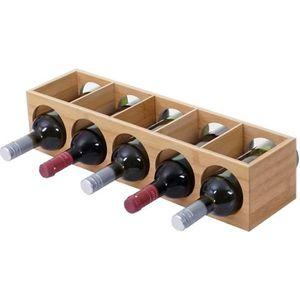 MEUBLE RANGE BOUTEILLE Étagère à vin HWC-B89, porte-bouteilles, bambou, 5