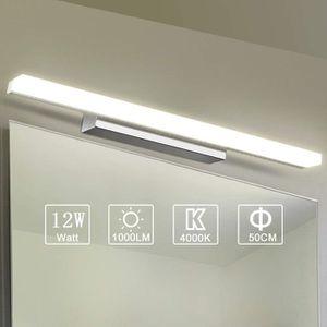 Lampe Miroir Salle de Bain Ketom Lampe pour Miroir LED 9W 600LM Miroir Lumineux Led IP44 Applique Salle de Bain Blanc Froid 6000K Acier Inoxydable Lampe Miroir LED 42CM
