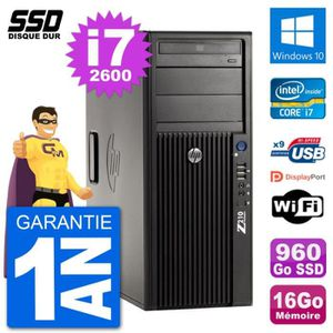 ORDI BUREAU RECONDITIONNÉ PC Tour HP Z210 Intel Core i7-2600 RAM 16Go SSD 96