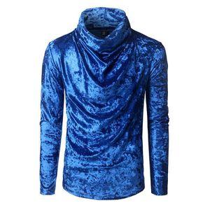 T-SHIRT Tee Shirt Homme Velours d'or Haute Col T Shirt Man