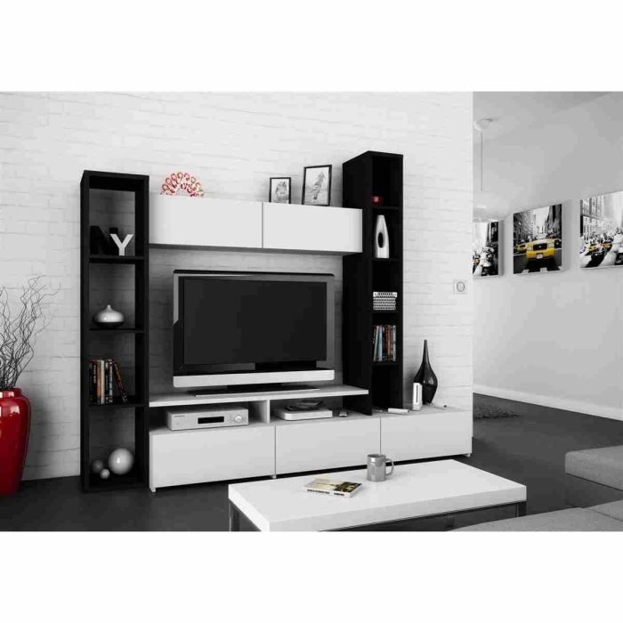 wall ensemble s jour contemporain b ne et blanc l 211 cm achat vente meuble tv wall. Black Bedroom Furniture Sets. Home Design Ideas