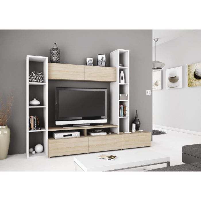 wall meuble tv mural 211 cm ch ne blanc achat vente meuble tv wall meuble tv mural bois. Black Bedroom Furniture Sets. Home Design Ideas