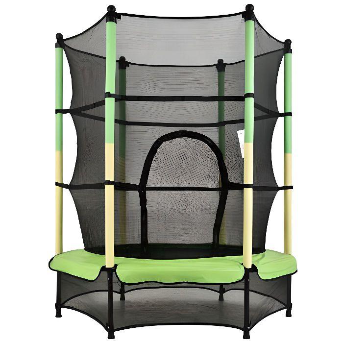 Trampoline de jardin 140cm filet de sécuritépour Enfants, Charge maximale 50kg Vert