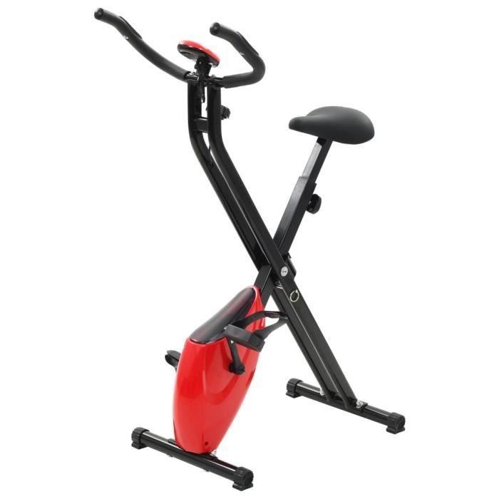 ASHATA Vélo d'appartement magnétique et mesure du pouls Noir et rouge