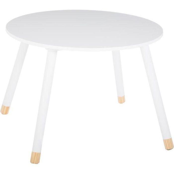 Table douceur blanc pour enfant en bois Ø60cm Autres Blanc
