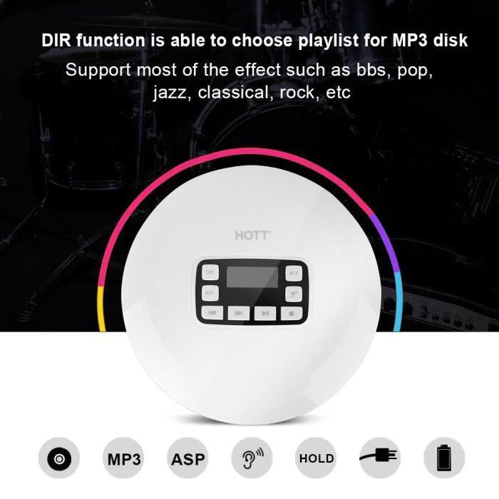 Lecteur CD portable, Lecteur CD Bluetooth, HOTT Portable Bluetooth HIFI Stéréo Lecteur de musique avec écouteurs Prise UE-LAV