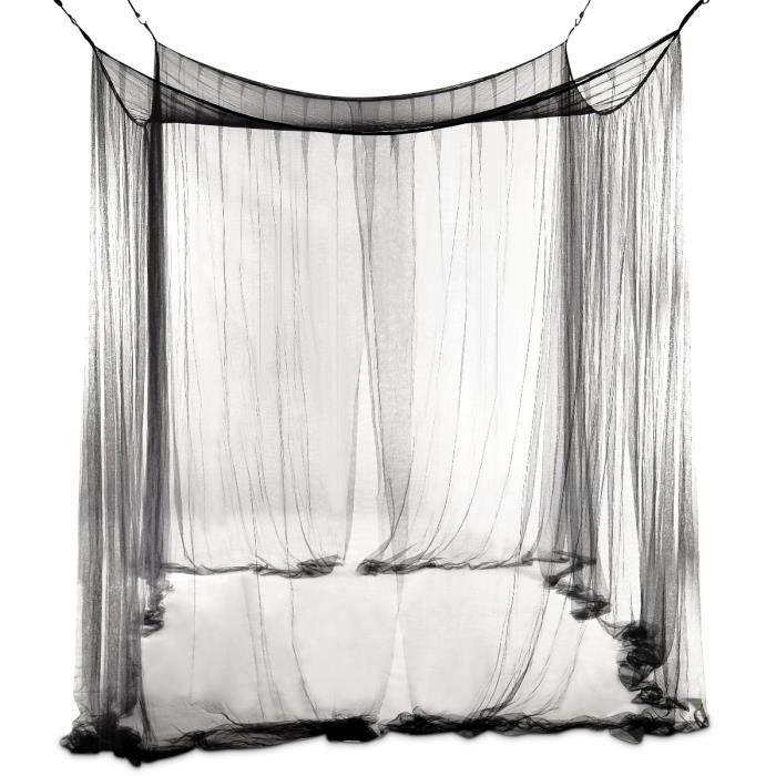 COSTWAY Moustiquaire de Lit Baldaquin pour Lit Double Protection des Insectes 220 x 200 x 210 CM Noire