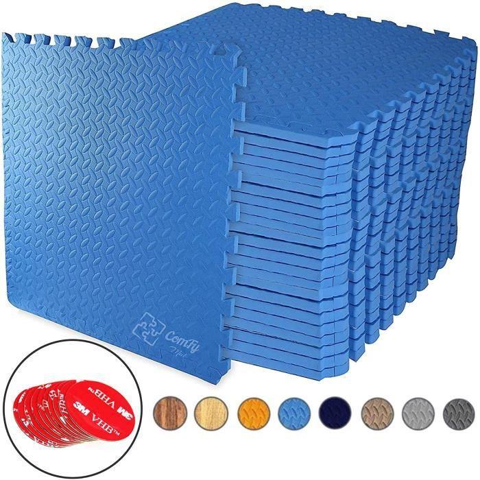 Tapis de Sol de Gym Sport avec 12 Dalles de Protection en Mousse 60 cm x 60 cm BLEU