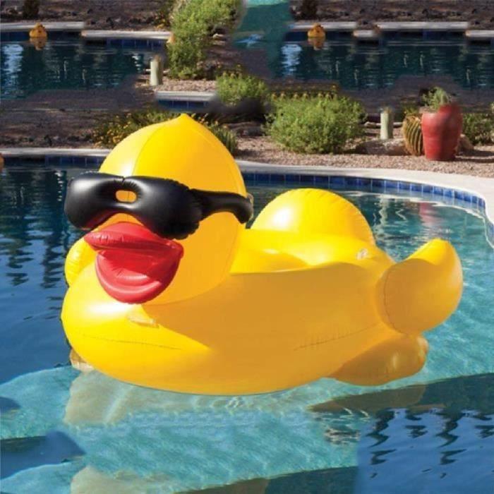 Bouée gonflable piscine de canard avec des supports de tasse et des poignées pour des enfants et des adultes 81 -x 76- x 44 -