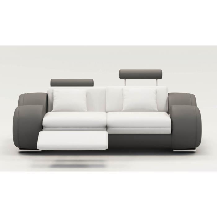 DYDDA - Canapé 2 places relax en cuir blanc et gris