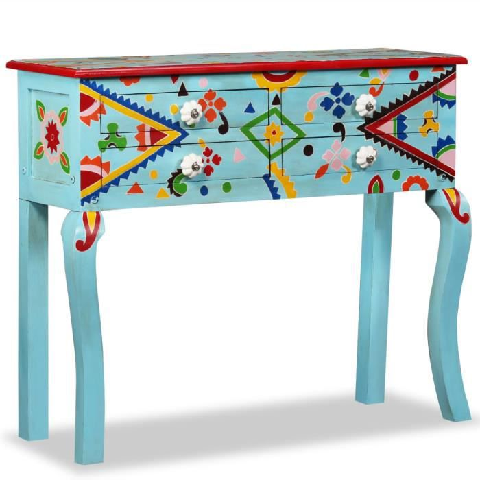 Elégant Table console Design - Table d'appoint Table d'entrée Bois de manguier massif Bleu peint à la main ☺13935