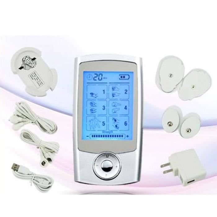 Électrostimulateur TENS, soulagement des douleurs avec 16 programmes de massage, 2 canaux de sortie (A et B) pour le traitement et