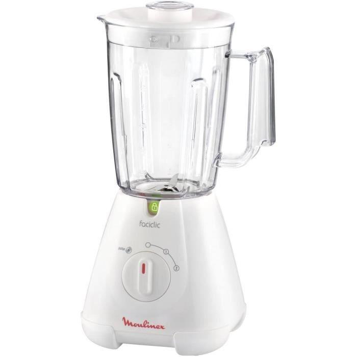Moulinex LM300141 Blender Mixeur Électrique Faciclic Capacité 1,5L Smoothie Soupe Milkshake Fruits Légumes 400W Blanc