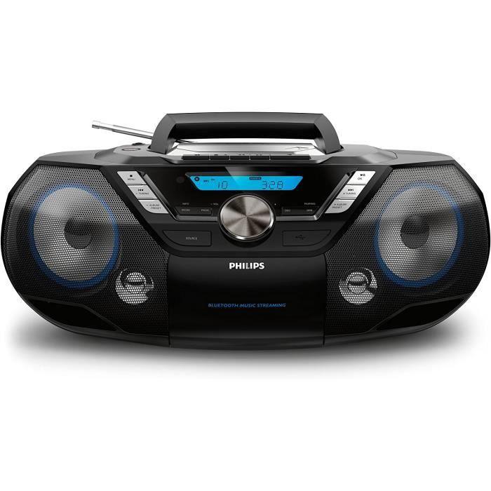 Philips AZB798T/12 Lecteur CD Portable,Lecteur CD Bluetooth (USB Direct, Radio DAB+/FM,MP3-CD,Cassette,12 W,Une Chaîne Tout en Un) N