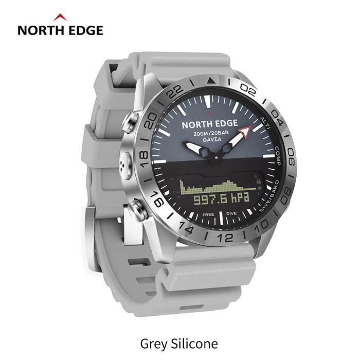 C North Edge GAVIA 2 montres pour hommes d'affaires de luxe en acier complet étanche 200 m altimètre boussole plongée sport numériqu