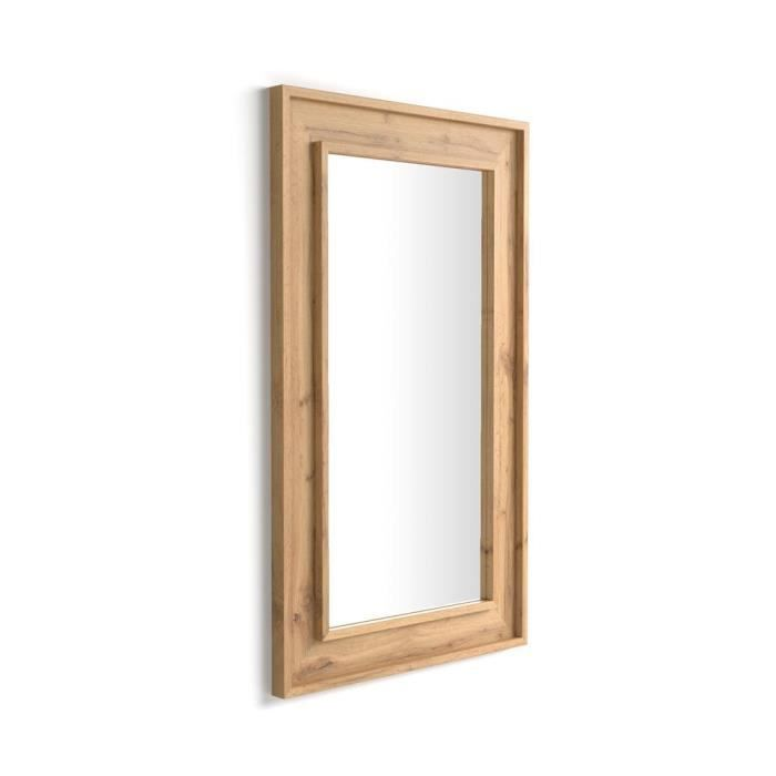 Mobili Fiver, Miroir mural Angelica , 112x67, Bois Rustique, Mélaminé/Verre, Made in Italy