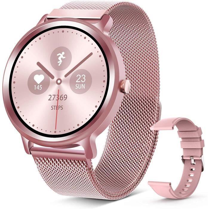 ELEGIANT Montre Connectée Femme, Montre Intelligente étanche IP68 Bracelet Connecté avec Fréquence Cardiaque Podomètre Chronomètre M