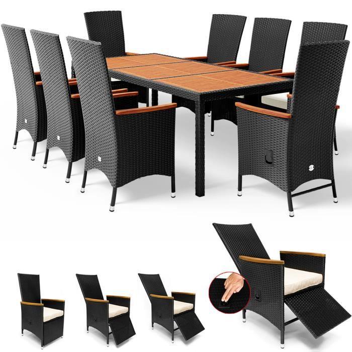 Salon de jardin en polyrotin Table 8 chaises avec dossier haut Fonction inclinaison Coussins de 7cm Mobilier de jardin