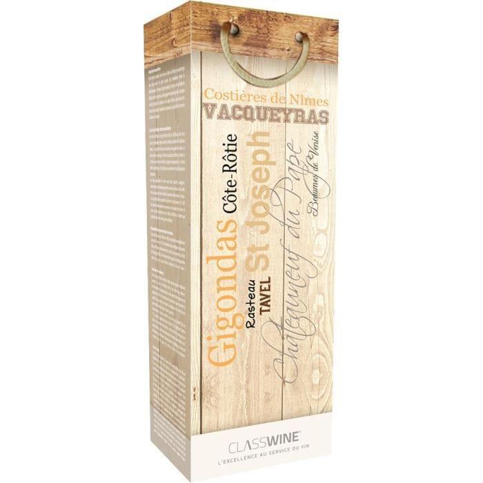 CLASSWINE Pochette pour 1 bouteille vin des Côtes du Rhône Appellations