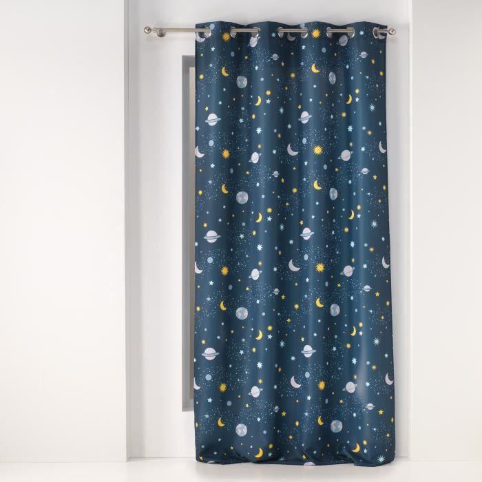 CDaffaires Rideau a oeillets 140 x 260 cm polyester imprime petit astronaute Bleu