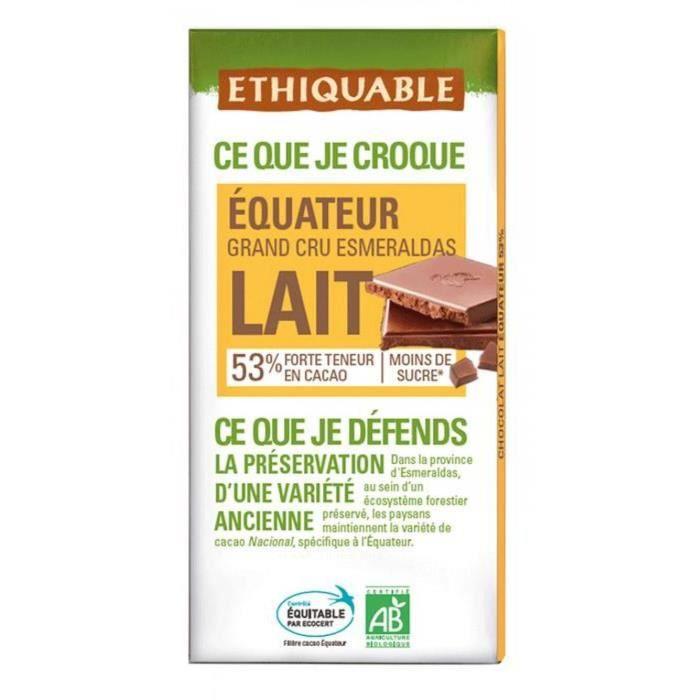 ETHIQUABLE Chocolat au lait 53% d'Equateur - Bio - 100g