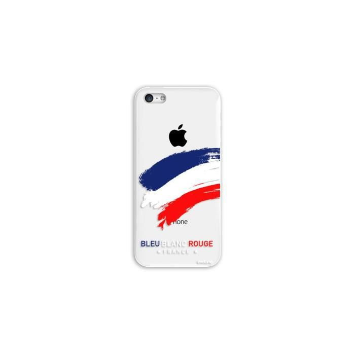 Coque iPhone 5C rigide transparente France Ecriture Tendance et Design Evetane