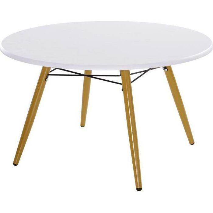 Table basse ronde design scandinave Ø 80 x 45H cm métal MDF blanc