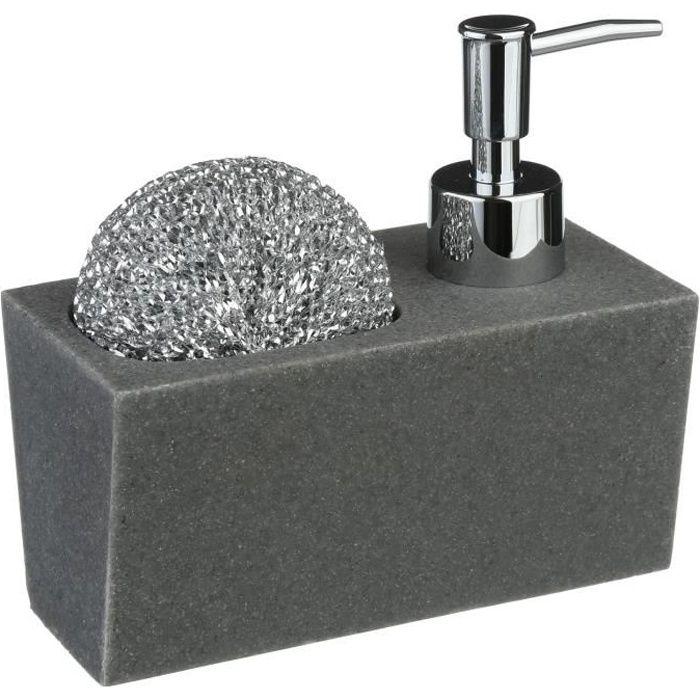 Distributeur de savon avec porte éponge - L. 14,5 cm - Gris
