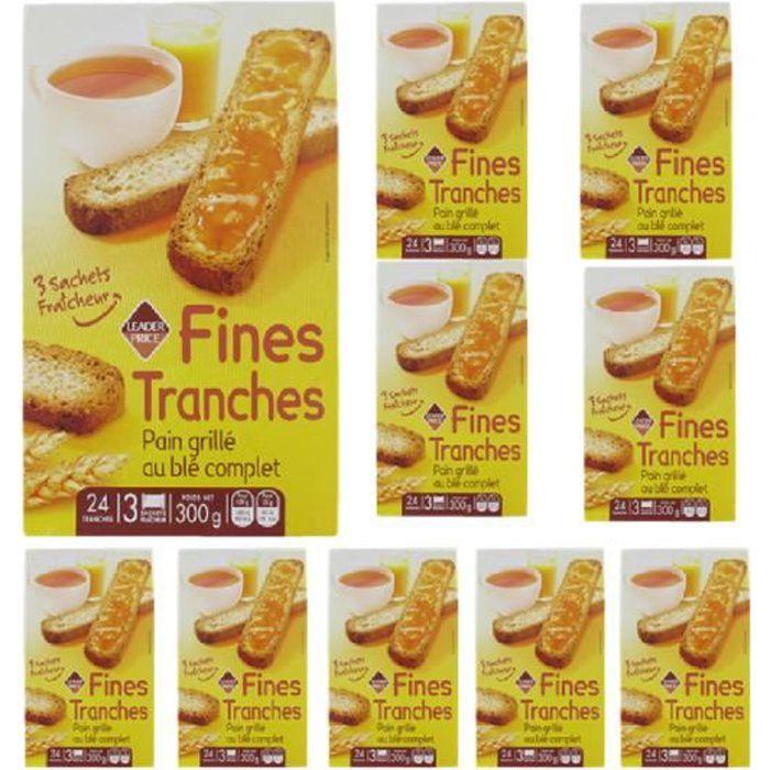[Lot de 10] Fines tranches de pain grillé au blé complet x24 - 300g par paquet